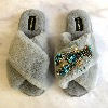 LAINES LONDON Faux Fur Blue Lobster Slippers Grey