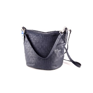 Italian Leather Bucket Bag Navy