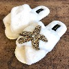 LAINES LONDON Crystal Starfish Slippers Cream