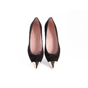 Pretty Ballerinas Black Suede Silver Point Ella