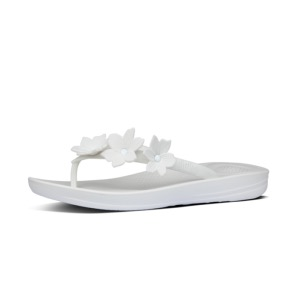 FITFLOP Iqushion Floral Flip-Flops Urban White