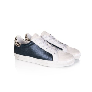 AIR & GRACE Cru Navy Metallic Dotty Print Trainers