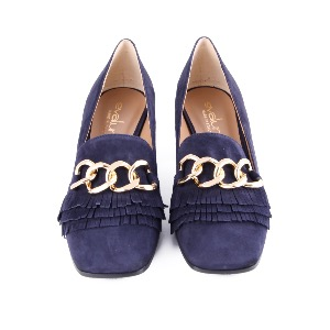 Evaluna Heeled Loafer Navy