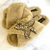 LAINES LONDON Faux Fur Starfish Slippers Caramel