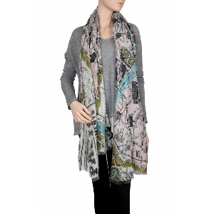 One Hundred Stars Paris Street Map Scarf