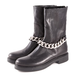 Rotta Black Leather Chain Boot