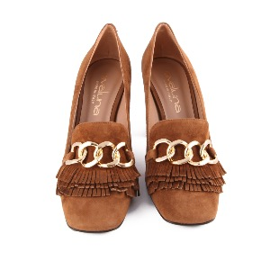 Evaluna High Heeled Loafer Dark Tan