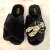 LAINES LONDON Crystal Lobster Slippers Black