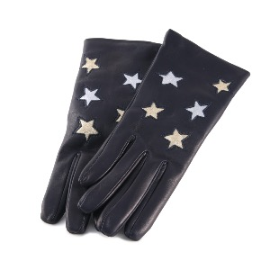 Leather Gloves Navy Metallic Stars