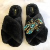 LAINES LONDON Faux Fur Blue Lobster Slippers Black
