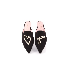 Pretty Ballerinas Ella Black Suede Love You