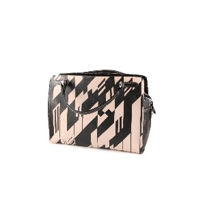 Italian Leather Handbag Black Check