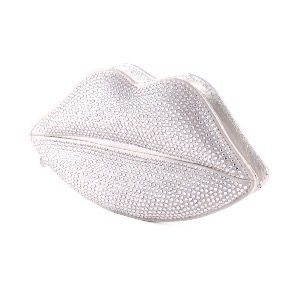 Lulu Guinness Swarovski Crystallized Lips Clutch Silver