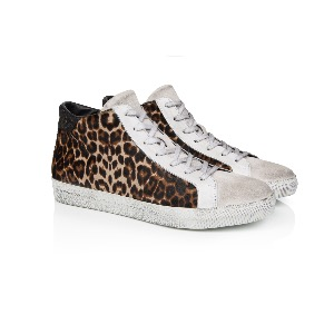 AIR & GRACE Alton Leopard Print Leather High Top Trainer