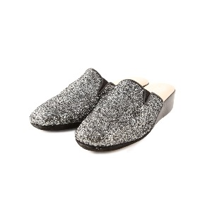 CRB Leather Slippers Pewter Glitter