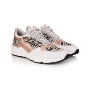 AIR & GRACE Cosmic Rose Gold Dotty Print Trainers