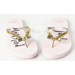 Kate Spade 'Just Married' Flip-Flops Gold
