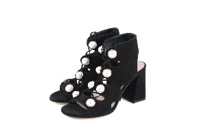 Rotta Black Suede Pearl Sandals
