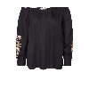 MOS MOSH Reed Embroidery Blouse Black
