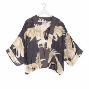 ONE HUNDRED STARS Kimono Crane Charcoal