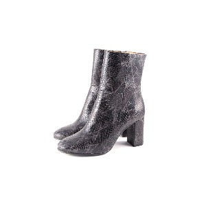 Marian Black Snakeskin Print Leather Boots