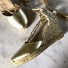 AIR & GRACE Shimmie Gold Leather Espadrille