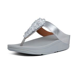 FITFLOP Fino Sequin Toe-thong Sandals Silver