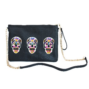 Tea & Tequila Sonora Black Sugar-skulls Cross-Body Bag