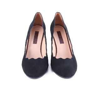 Marian Black Suede Court Shoe