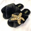 LAINES LONDON Crystal Starfish Slippers Black