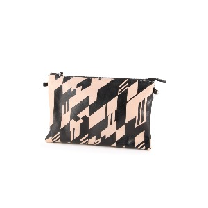 Italian Leather Clutch Bag Black Check