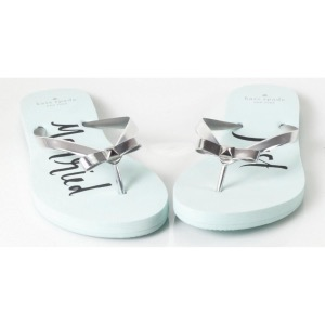 Kate Spade 'Just Married' Flip Flops Siver